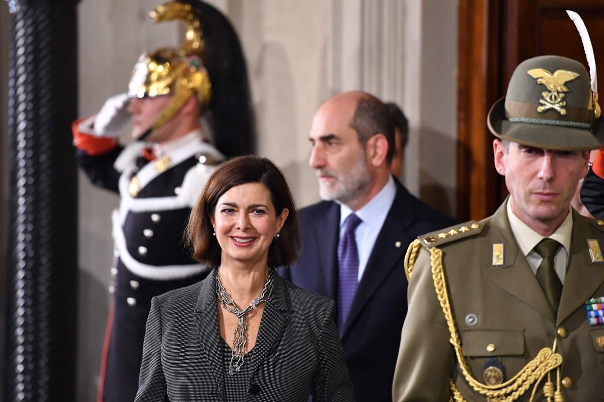 La presidenta del Congreso italiano, Laura Boldrini, tras reunirse con el presidente Mattarella.