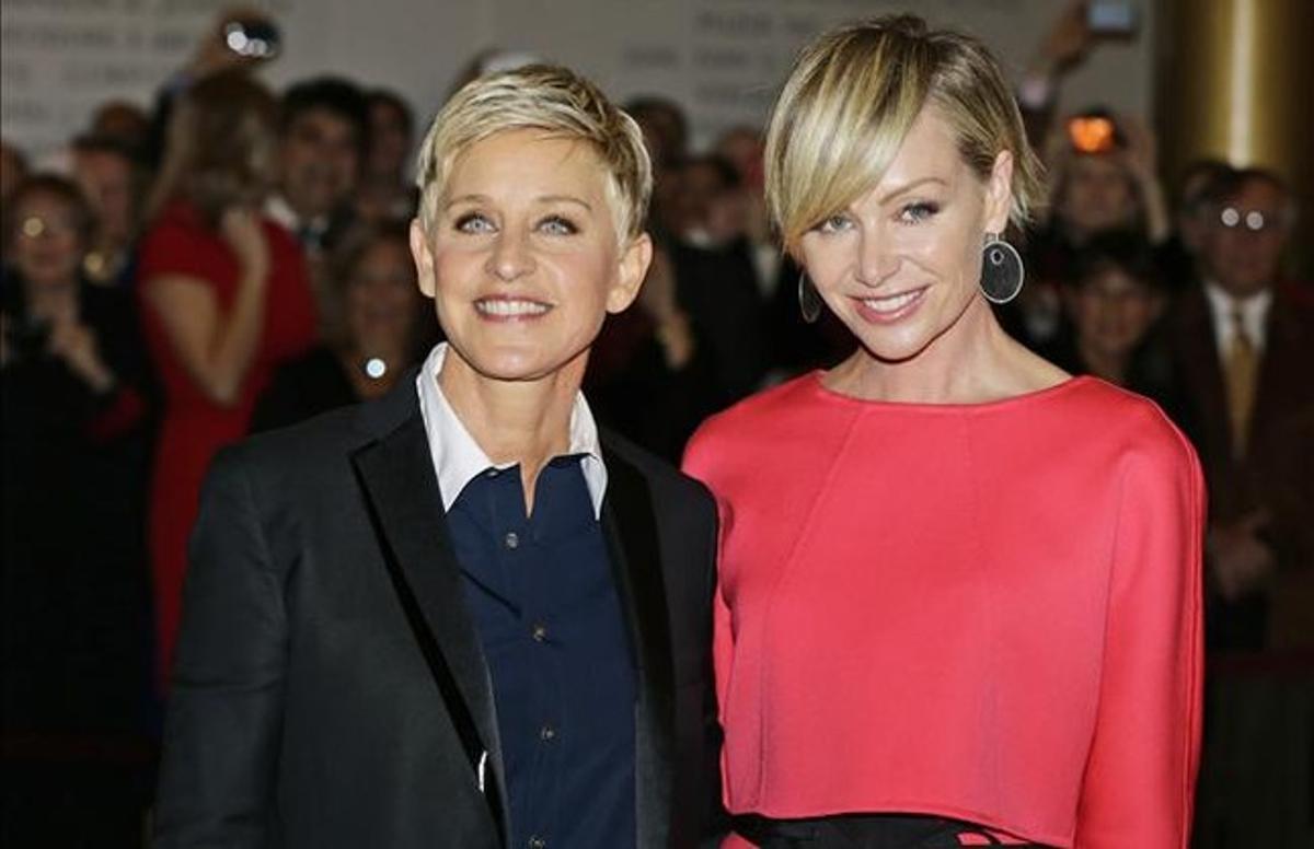 Ellen DeGeneres y su mujer, Portia de Rossi, el pasado lunes, en Washington.