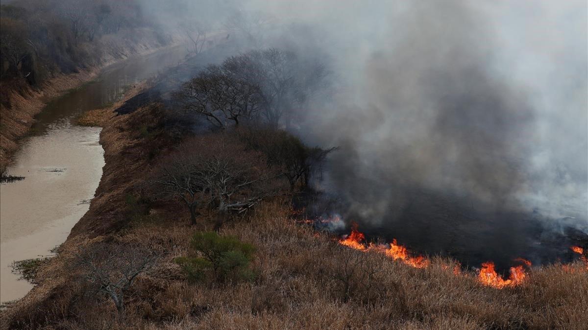 Incendio en la rivera del río Paraná, cerca de la ciudad de San Lorenzo.