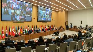 Plano general del encuentro de ministros de defensa de la OTAN, en la sede de Bruselas.