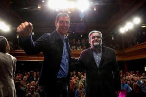 El presidente del Gobierno, Pedro Sánchez, presenta la candidatura de Pepu Hernández como candidato del PSOE al Ayuntamiento de Madrid, el 3 de febrero de 2019 en el teatro La Latina de la capital.