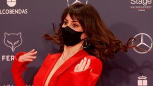 La actriz Eva Ugarte a su llegada a la ceremonia de los Premios Feroz.