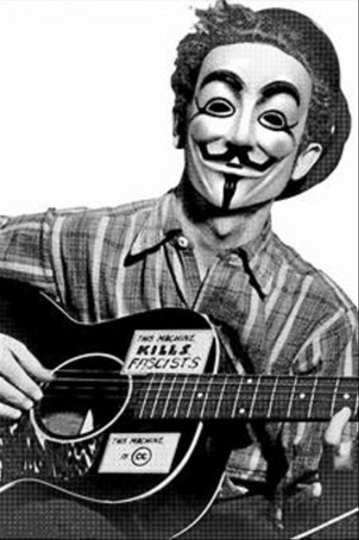 Cantautor enmascarado 8 Estampa actualizada de Woody Guthrie.