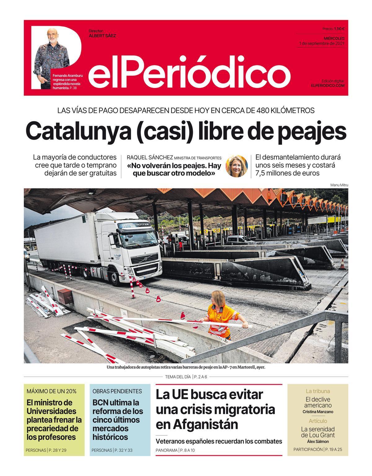 La portada de EL PERIÓDICO del 1 de septiembre del 2021