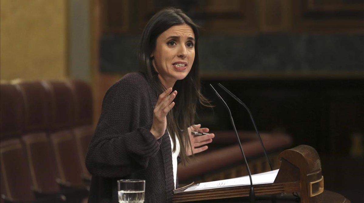 La portavoz de Unidos Podemos en el Congreso, Irene Montero, en febrero.