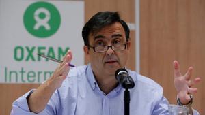 José María Vera, presidente de Intermón Oxfam, durante la rueda de prensa, en Madrid, el 15 de febrero.