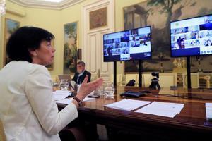 La ministra de Educación, Isabel Celaá, durante la Conferencia Sectorial de Educación por videoconferencia.