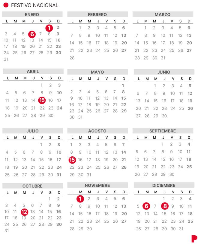 Calendari laboral 2022 a Espanya (amb tots els dies festius)