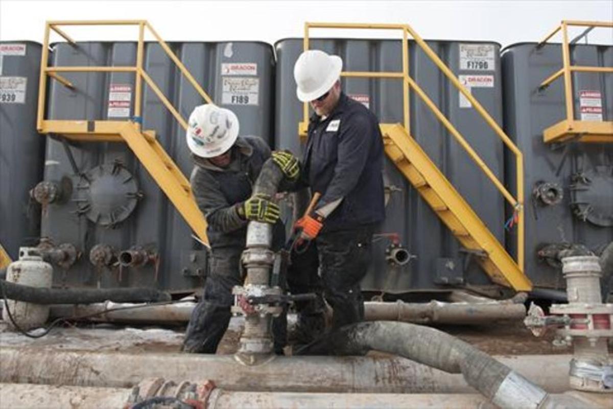 Trabajadores del 'fracking'.