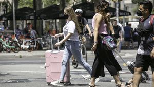 Turistas en el centro de Barcelona, esta semana.
