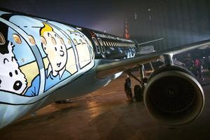 Avión de Brussels Airlines inspirado en las aventuras de Tintín.