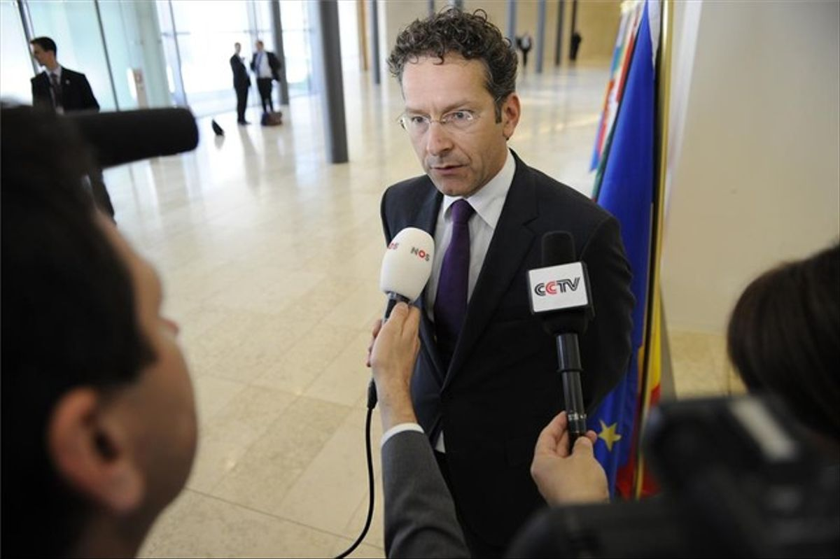 El presidente del Eurogrupo, Jeroen Dijsselbloem, responde a las preguntas de los periodistas.