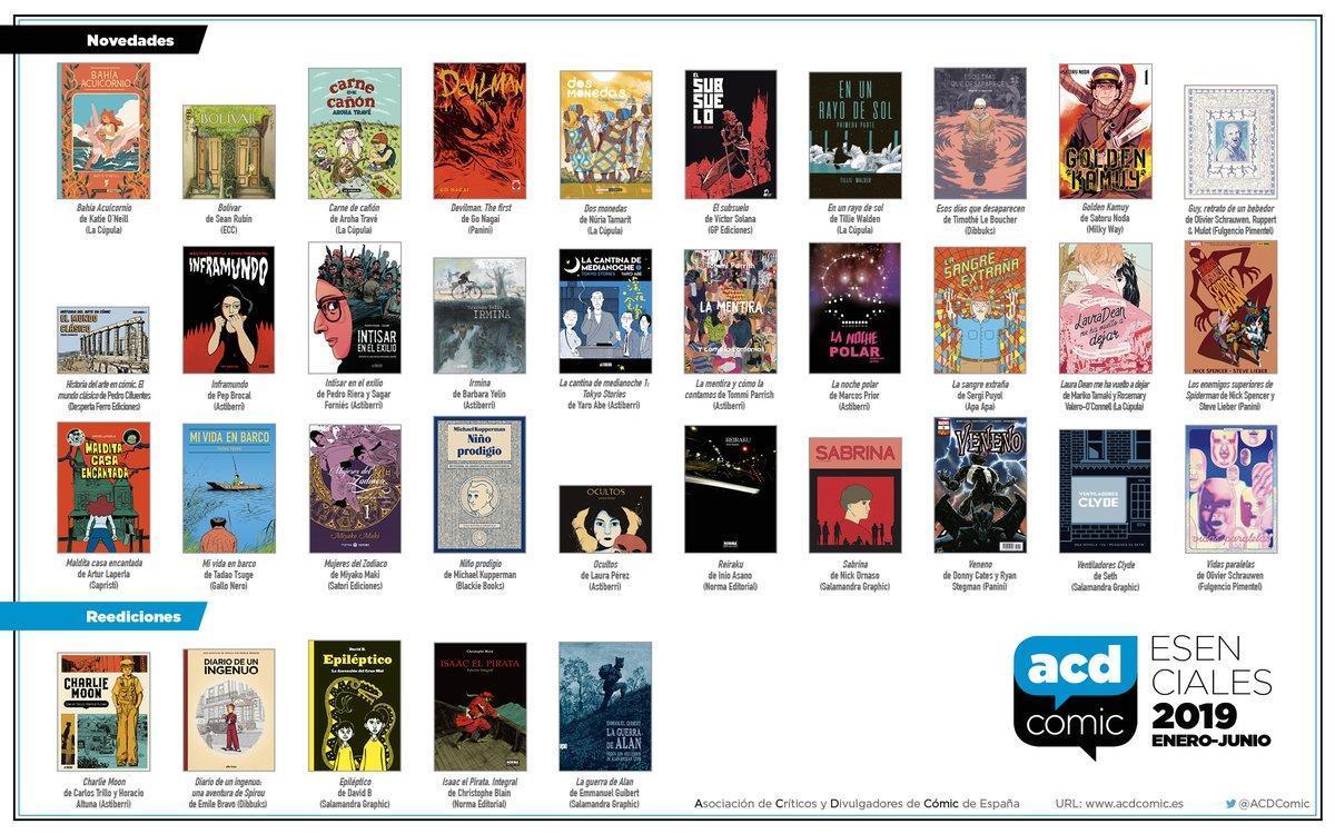 Portadas de los cómics esenciales, según la ACDCómic, de este primer semestre del 2019.