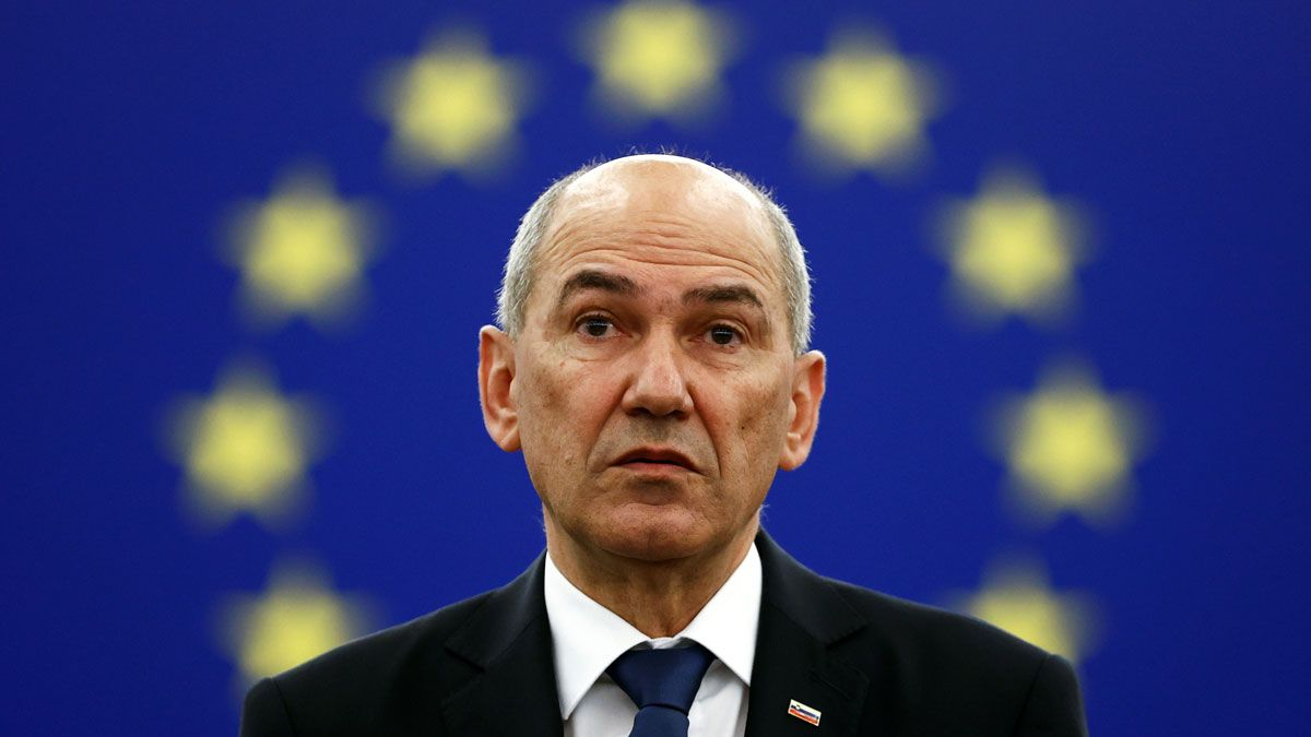 El primer ministro esloveno, Janez Jansa, durante su intervención en el pleno de Estrasburgo.
