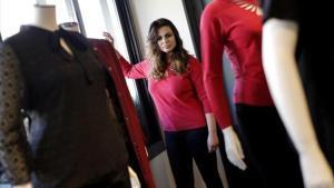 La modelo Marisa Jara, en la presentación de su colección con Elena Miró,en Madrid.