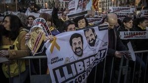Concentración en Barcelona contrael encarcelamiento de los Jordis, en el 2018.