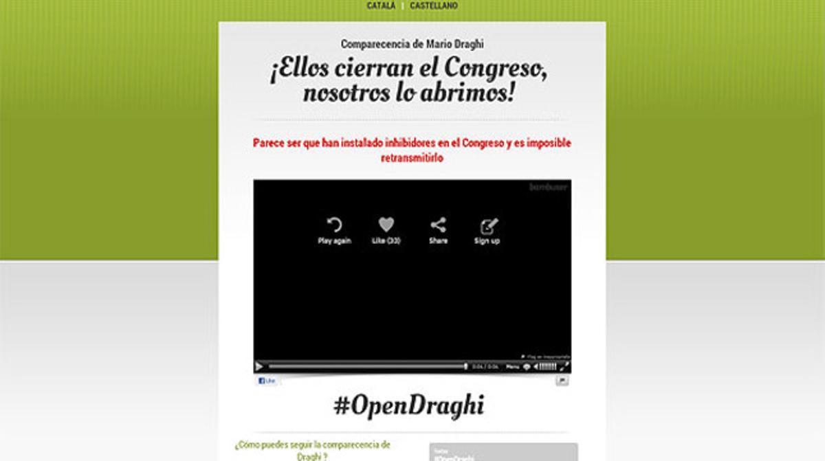 Captura de la web que había preparado ICV para retransmitir la comparecencia de Draghi.