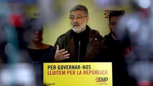 El diputado de la CUP Carles Riera, en una rueda de prensa.