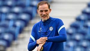 Tuchel, este viernes en el último entrenamiento del Chelsea en Oporto antes de la final de la Champions de este sábado.