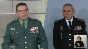 Máximos jefes operativos de la Policía Nacional y de la Guardia Civil explicando lo sucedido..