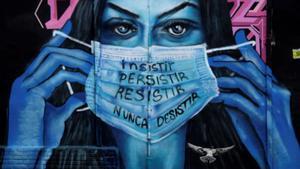 Imagen de un grafiti feminista tomada en Bogotá, el 1 de marzo.