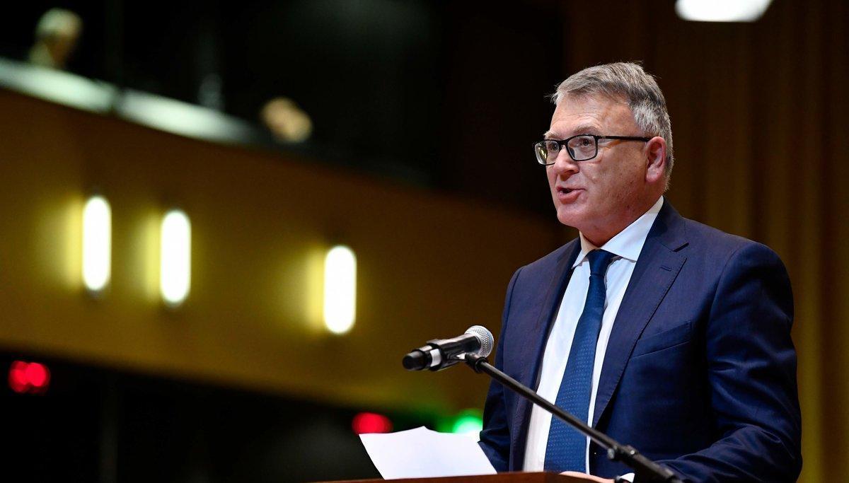 El comisario europeo de Ocupación y Derechos Sociales, Nicolas Schmit; durante una intervención en Luxemburgo.