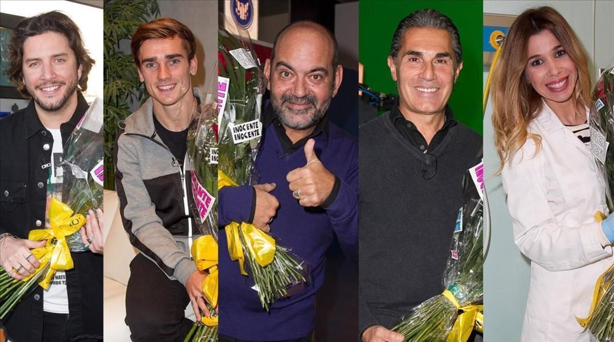 Manuel Carrasco, Antoine Griezmann, Jose Corbacho, Sergio Scariolo y Natalia, los 'inocentes' de la gala que emite TVE-1.