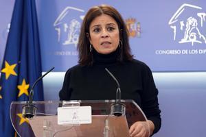 La portavoz del PSOE en el Congreso, Adriana Lastra, el pasado día 9.