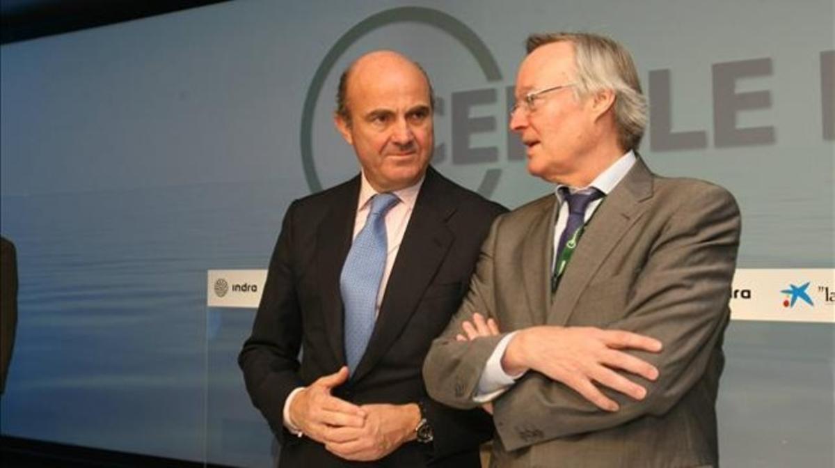 Luis de Guindos y Josep Piqué, en la 29ª Reunió del Cercle d'Economia, en Sitges.