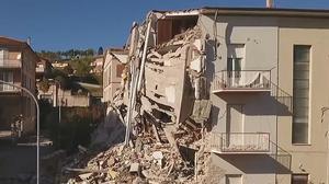 Los daños en la localidad de Tolentino tras el terremoto, a vista de dron.