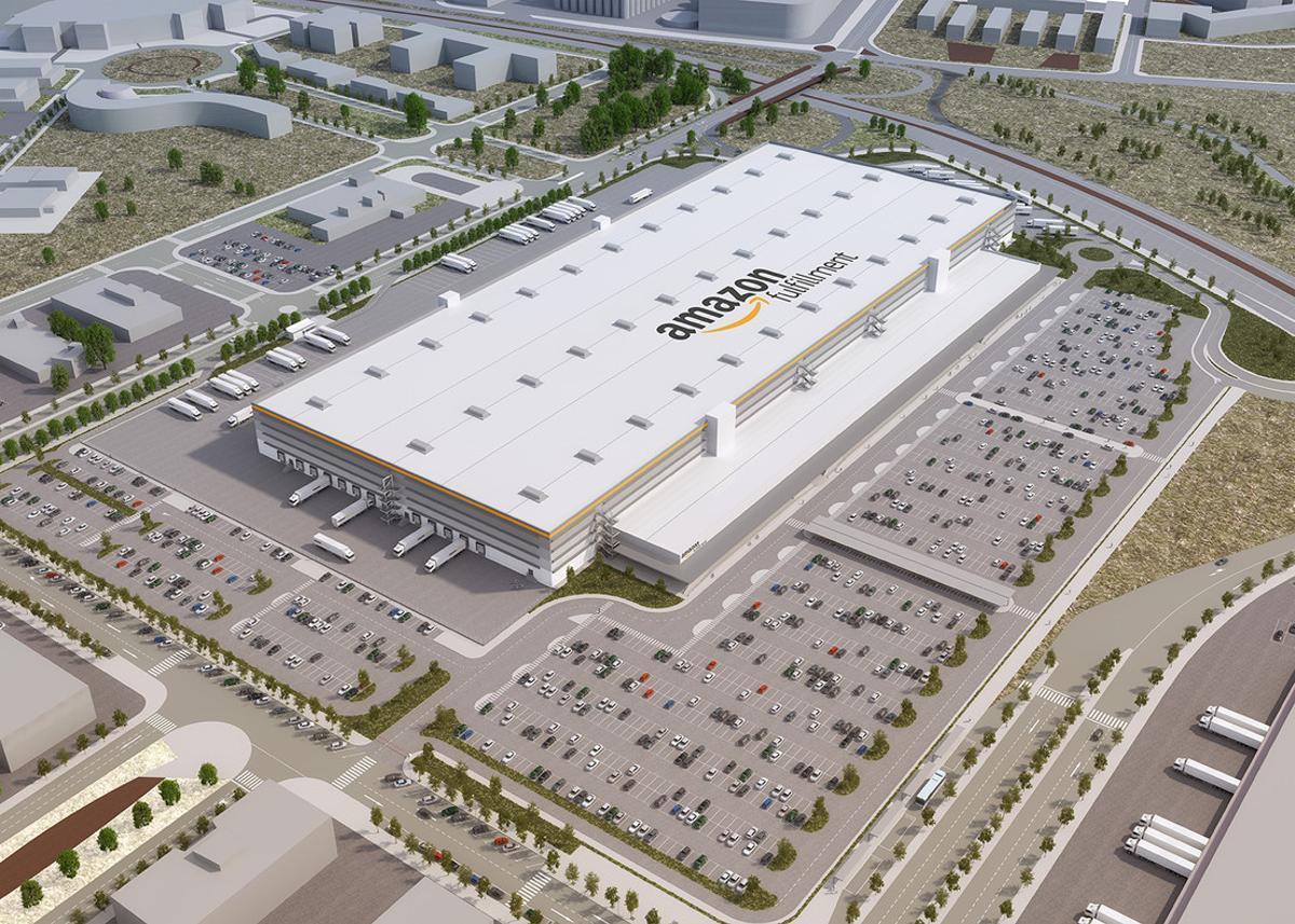 Así será el centro logístico de Amazon en El Prat (Barcelona).
