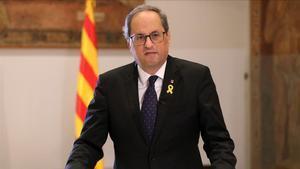 El 'president' Quim Torra pronuncia una declaración institucionalen el Palau de la Generalitat
