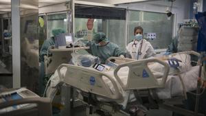 La uci de pacientes covid del Hospital del Mar de Barcelona, el 8 de enero.