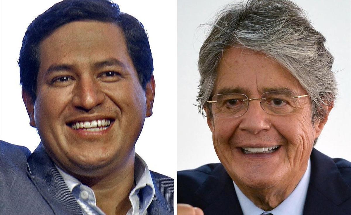 Los ecuatorianos acuden a las urnas entre la apatía y la desconfianza. En las fotos, Andrés Arauz (izquierda) y Guillermo Lasso, candidatos a la presidencia de Ecuador.