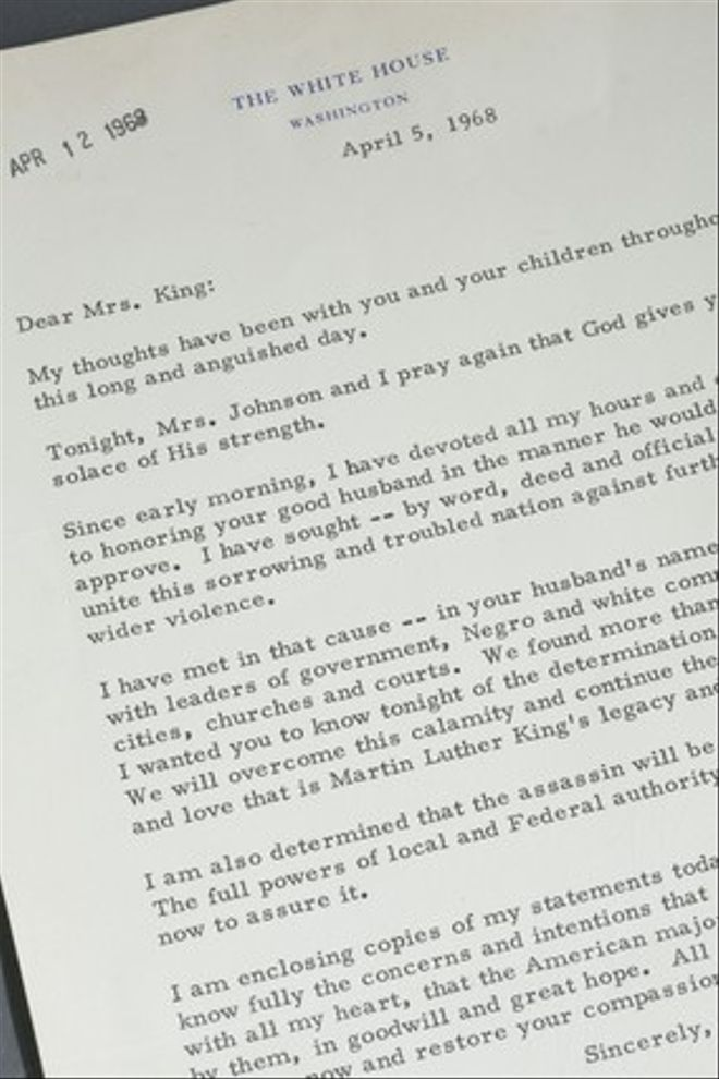 Carta del presidenteLyndon Johnson a la viuda de Luther King.