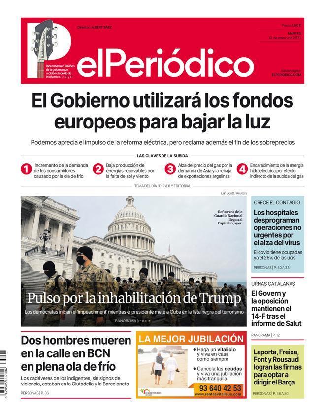 La portada de EL PERIÓDICO del 12 de enero del 2021