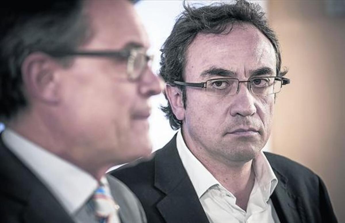 El presidente de la Generalitat y líder de CiU, Artur Mas, y el nuevo coordinador general de CDC, Josep Rull, el pasado 25 de julio.