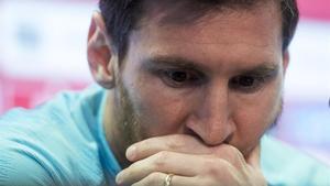 Messi, en la rueda de prensa previa a la final de Copa.