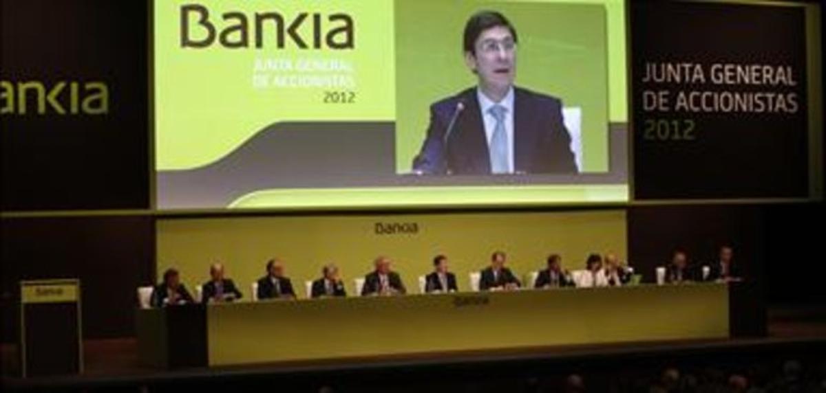 La junta de accionistas de Bankia, en Valencia.