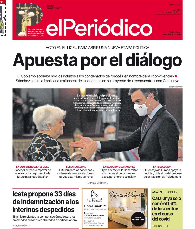 La portada de EL PERIÓDICO del 22 de junio de 2021
