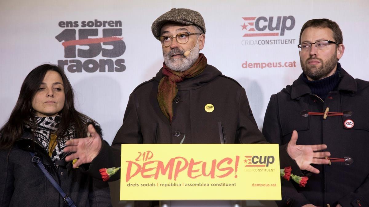 Carles Riera, durante el inicio de la campaña de la CUP.