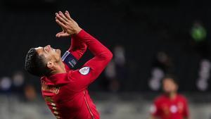 Cristiano Ronaldo se lamenta durante el último partido con la selección de Portugal.