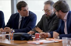 Albert Rivera, Juan Carlos Girauta y Fernando de Páramo, en una reunión de la ejecutiva de Ciudadanos.