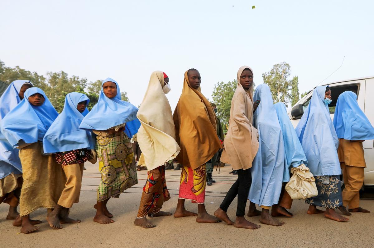 Algunas de las niñas secuestradas en Nigeria.