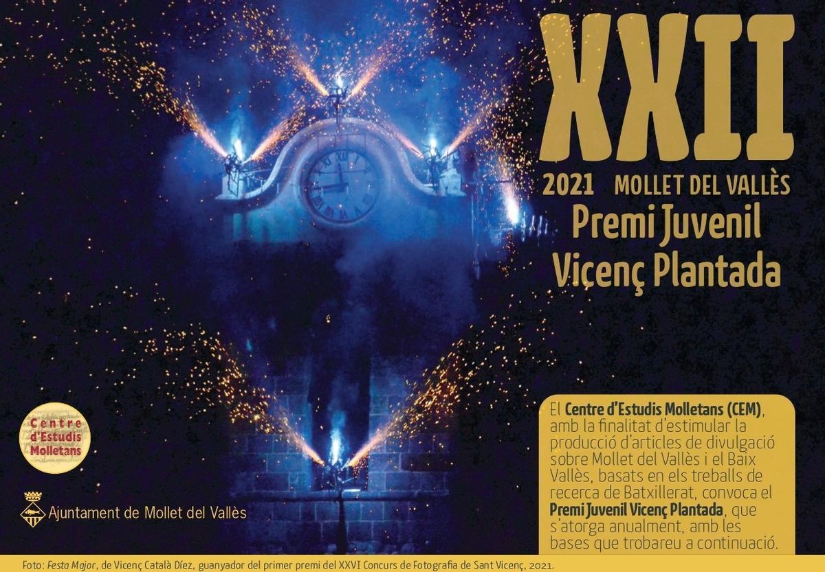 Cartel del XXII Premi Juvenil Vicenç Plantada de Mollet del Vallès.