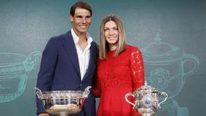 Rafael Nadal y Simona Halep, en la presentación de Roland Garros-2019, el pasado jueves, 23 de mayo