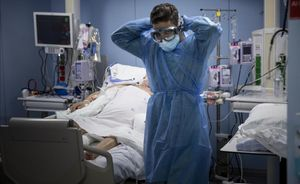 Unidad de cuidados intensivos del Hospital de Sant Pau, en Barcelona.