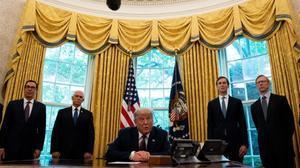 Trump cuando anunció la semana pasada en el despacho oval el acuerdo entre Israel y Baréin.
