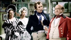 Una imagen coloreada de la película 'The Pickwick Papers', de 1952, con James Hayter en el papel de Samuel Pickwick (derecha).