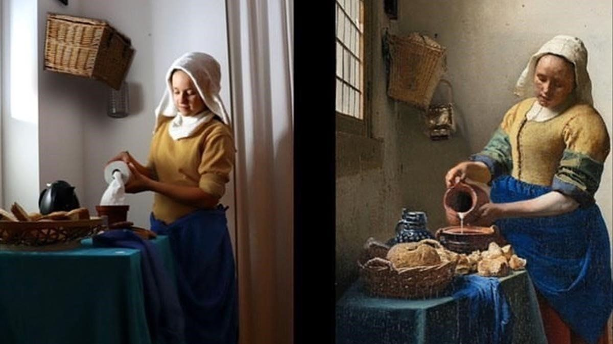 Versión confinada de 'La lechera' de Johannes Vermeer.